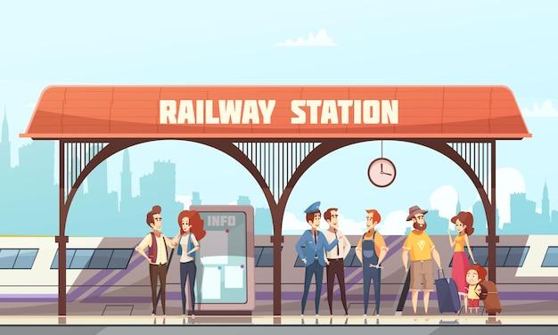 Illustrazione vettoriale di stazione ferroviaria Vettore gratuito