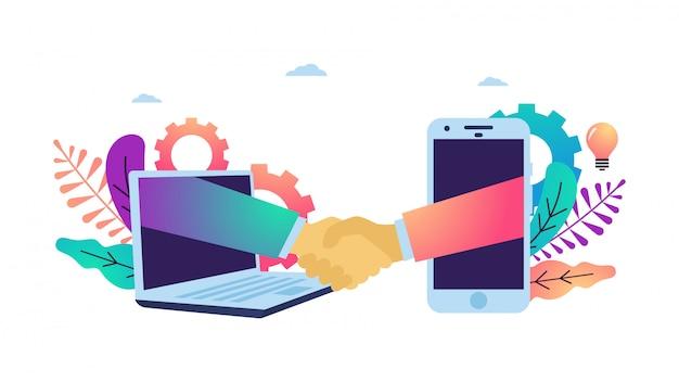 Illustrazione vettoriale di stringere la mano facendo accordo online. Vettore Premium
