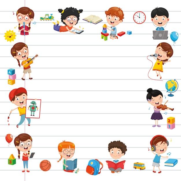 Illustrazione vettoriale di studenti dei cartoni animati Vettore Premium