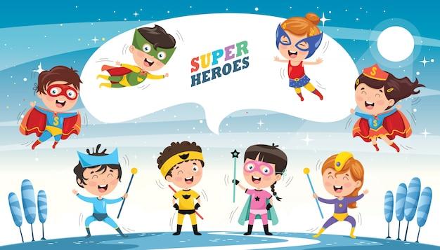 Illustrazione vettoriale di supereroi Vettore Premium