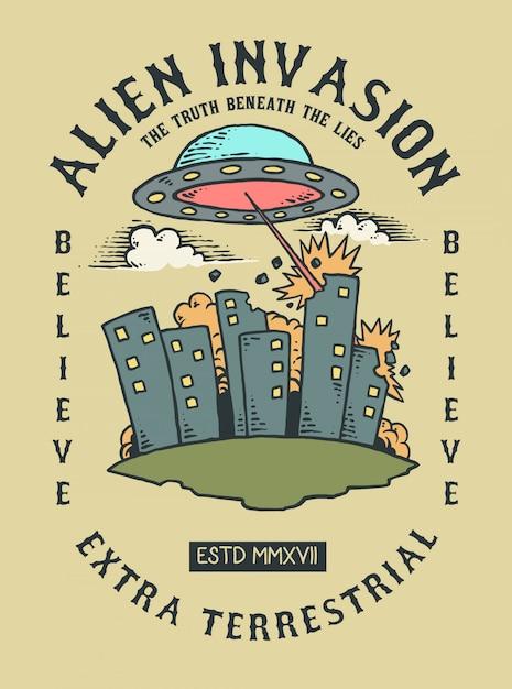 Illustrazione vettoriale di ufo alieno che invadono la terra e la città Vettore Premium