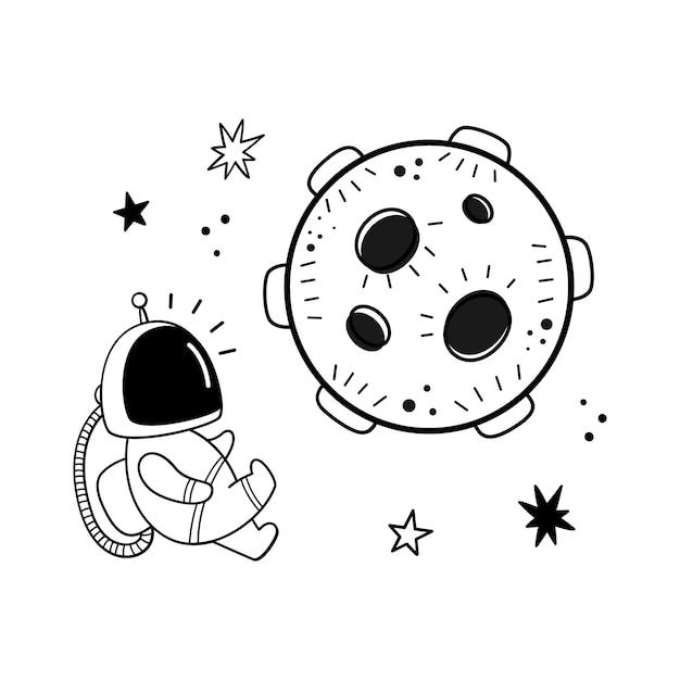 Illustrazione vettoriale di un astronauta e un pianeta Vettore Premium