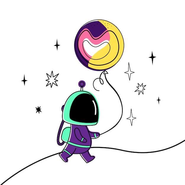 Illustrazione vettoriale di un astronauta e un pianeta. Vettore Premium