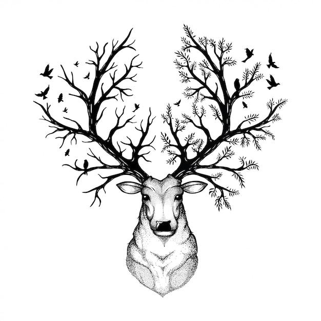 Illustrazione vettoriale di un cervo testa con sfondo foresta Vettore Premium