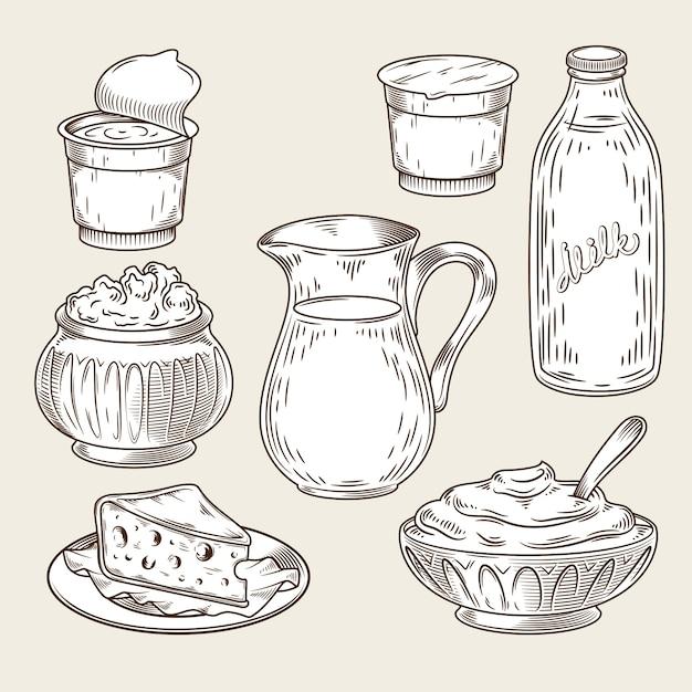 Illustrazione vettoriale di un insieme di prodotti lattiero-caseari nello stile di incisione. Vettore gratuito