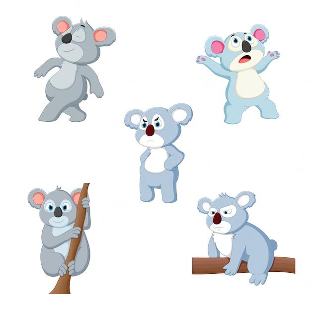 Illustrazione vettoriale di un koala cartone animato Vettore Premium