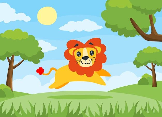 Disegno Di Bambino Che Corre : Illustrazione vettoriale di un leone che corre felicemente