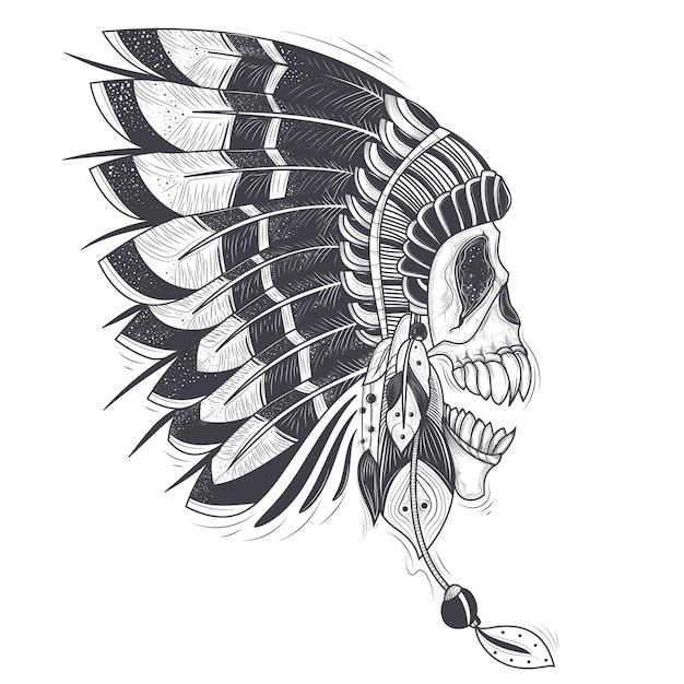 Illustrazione vettoriale di un modello per un tatuaggio con un cranio umano in un cappello di piume indiano. Vettore gratuito