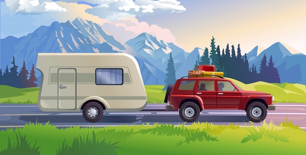 Illustrazione vettoriale di un paesaggio di montagna Vettore gratuito