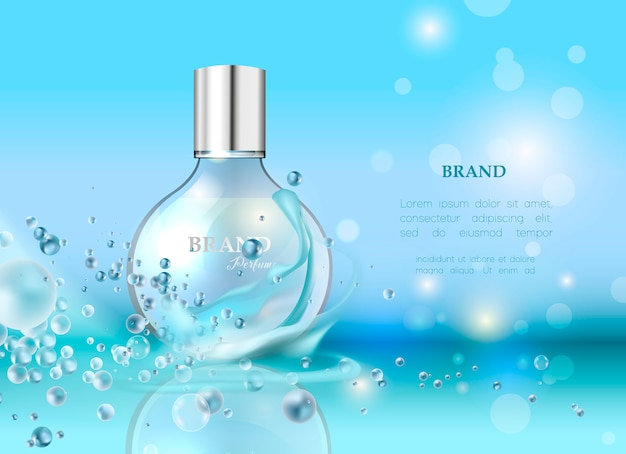 Illustrazione vettoriale di un profumo di stile realistico in una bottiglia di vetro Vettore Premium
