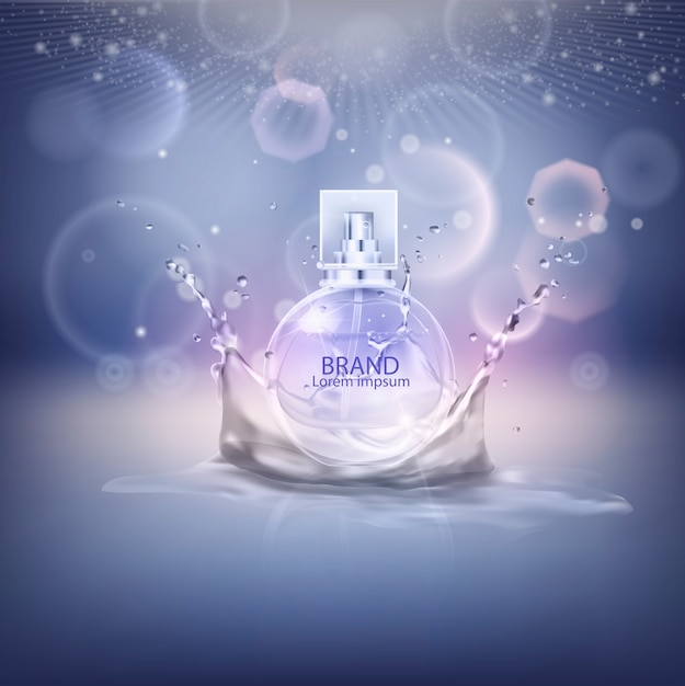 Illustrazione vettoriale di un profumo di stile realistico. Vettore Premium