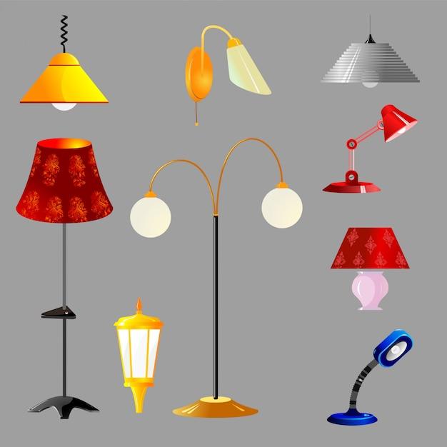 Illustrazione vettoriale di un set di lampade Vettore Premium