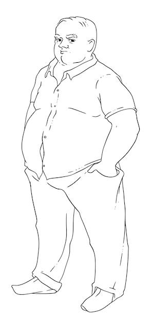 Illustrazione vettoriale di un uomo calvo con l'obesità Vettore Premium
