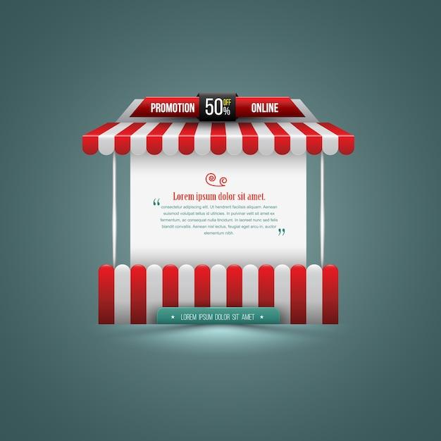 Illustrazione vettoriale di una bancarella. può essere utilizzato per la promozione Vettore Premium