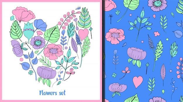 Illustrazione vettoriale di una cornice floreale a forma di un cuore e pattern Vettore Premium