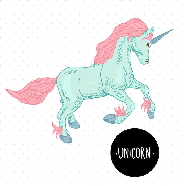 Illustrazione vettoriale di unicorno. Vettore Premium