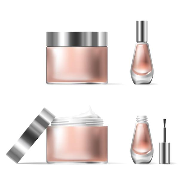 Illustrazione vettoriale di uno stile realistico di contenitori cosmetici di vetro trasparente con coperchio d'argento aperto Vettore gratuito