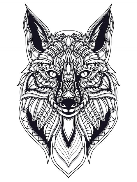 Illustrazione vettoriale di zentangle fox linea arte Vettore Premium