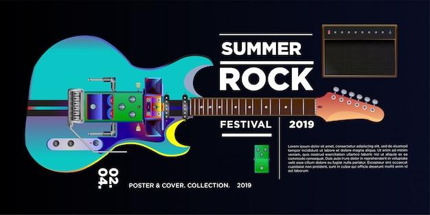 Illustrazione vettoriale festival di musica rock e chitarra Vettore Premium