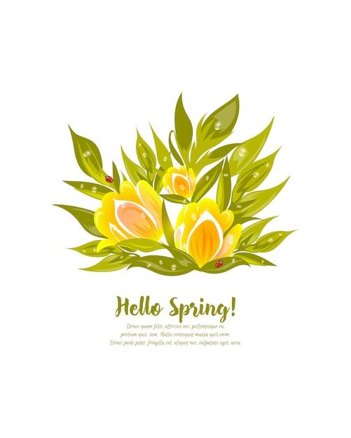 Illustrazione vettoriale floreale con tulipani gialli e foglie Vettore Premium