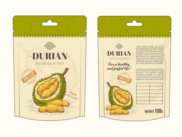 Illustrazione vettoriale in imballaggio di progettazione per frutta durian, modello, moc up Vettore gratuito