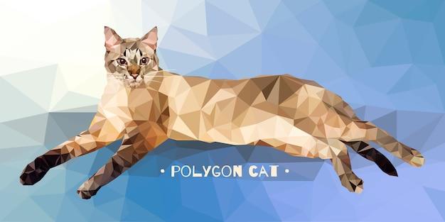 Illustrazione vettoriale in stile basso poligono. gatto su uno sfondo colorato. Vettore Premium