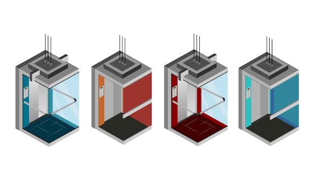 Illustrazione vettoriale isolato ascensore isometrica Vettore Premium