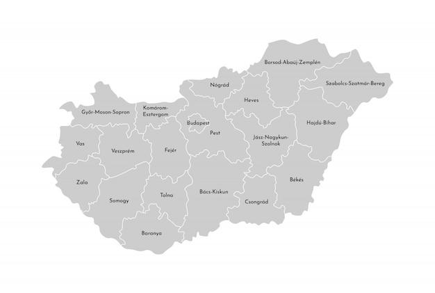 Illustrazione vettoriale isolato della mappa amministrativa semplificata dell'ungheria. confini delle province (regioni). sagome grigie contorno bianco Vettore Premium