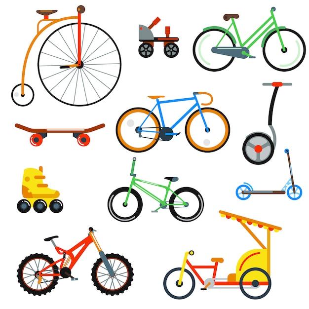Illustrazione vettoriale isolato stile piano bicicletta Vettore Premium