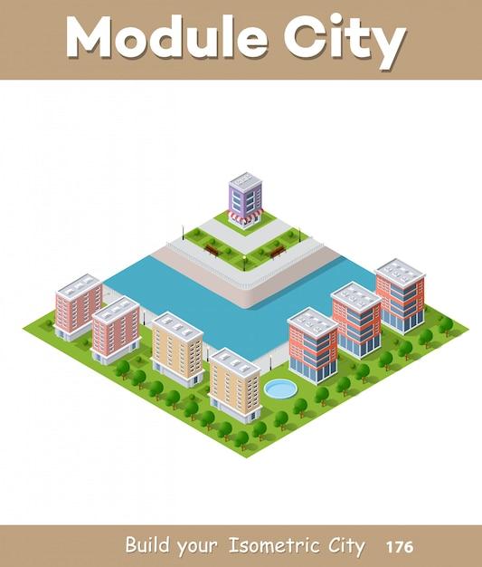 Illustrazione vettoriale isometrica di una città moderna Vettore Premium