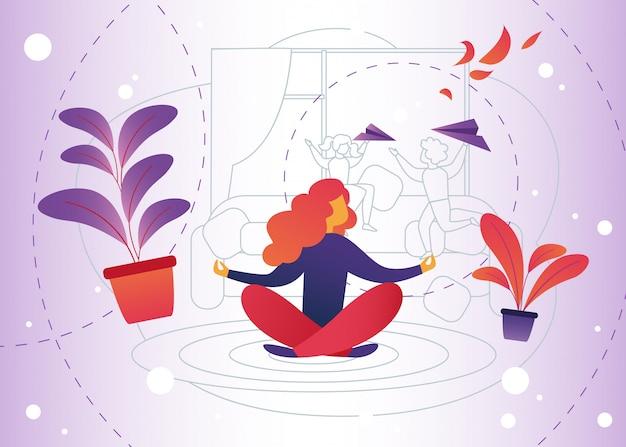 Illustrazione vettoriale meditazione a casa dei cartoni animati. Vettore Premium