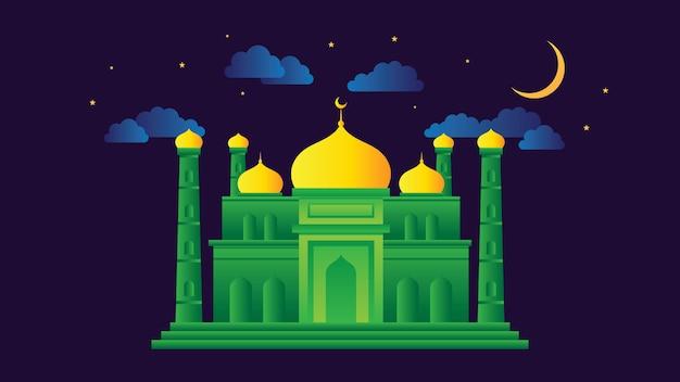 Illustrazione vettoriale moschea Vettore Premium