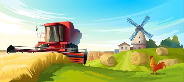 Illustrazione vettoriale paesaggio rurale di estate Vettore gratuito
