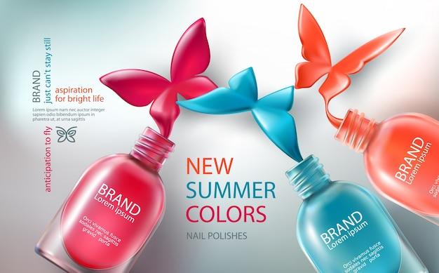 Illustrazione vettoriale raccolta di bottiglie colorate aperte con smalto di chiodi versato in forma di farfalle Vettore gratuito