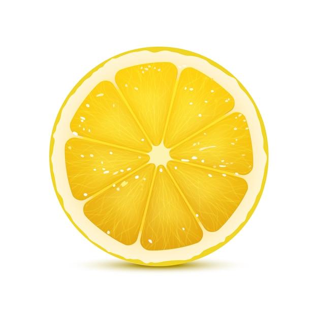 Illustrazione vettoriale realistico della fetta di limone Vettore Premium