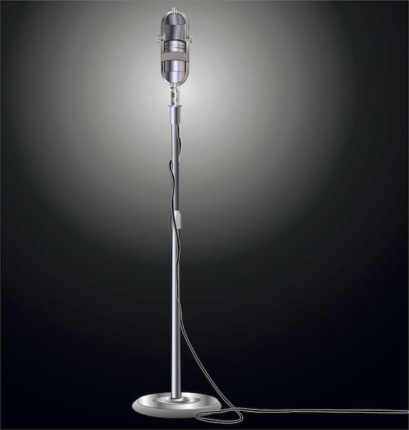 Illustrazione vettoriale retrò microfono Vettore Premium