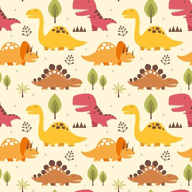 Illustrazione vettoriale seamless con dinosauri Vettore Premium