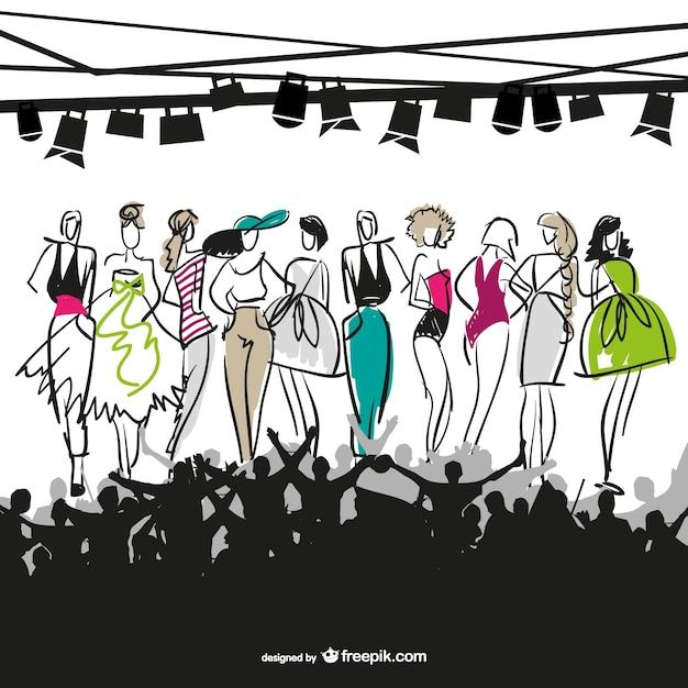 Illustrazione vettoriale sfilata di moda Vettore gratuito