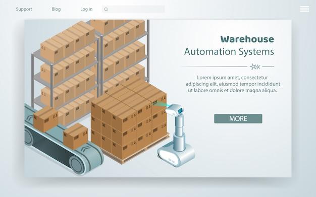Illustrazione vettoriale sistema di automazione del magazzino. Vettore Premium