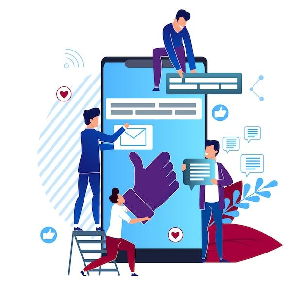 Illustrazione vettoriale social media cartoon flat. primo piano grande smartphone Vettore Premium