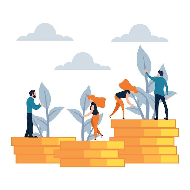 Illustrazione vettoriale stile cartoon piatto di investimento di denaro Vettore Premium