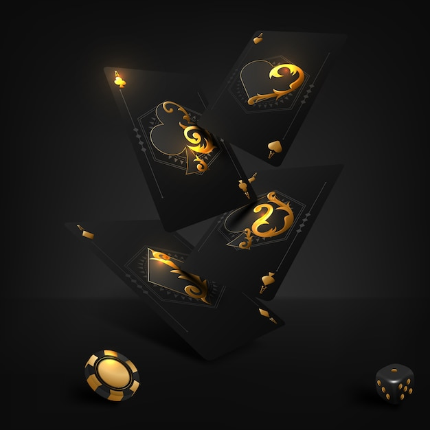 Illustrazione vettoriale su un tema di casinò con simboli di poker e carte da poker su sfondo scuro. Vettore Premium