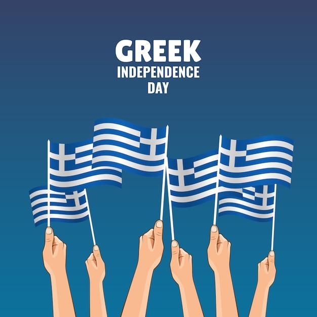 Illustrazione vettoriale sul tema festa dell'indipendenza greca. le mani tengono le bandiere del paese Vettore Premium
