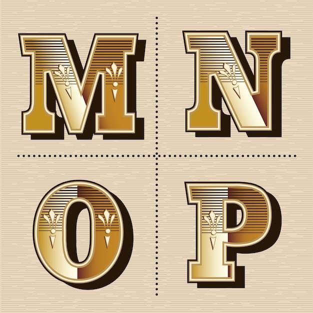 Illustrazione vettoriale vintage lettere dell'alfabeto occidentale font design (m, n, o, p) Vettore Premium