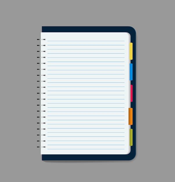 Illustrazione vettoriale vuoto notebook Vettore Premium