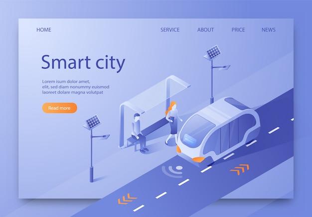 Illustrazione vettoriale written smart city isometric. Vettore Premium