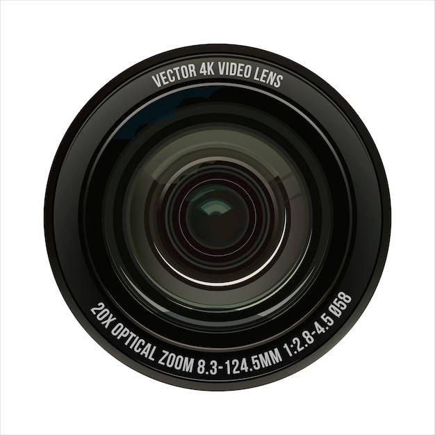 Illustrazione video obiettivo ottico su un bianco isolato Vettore Premium