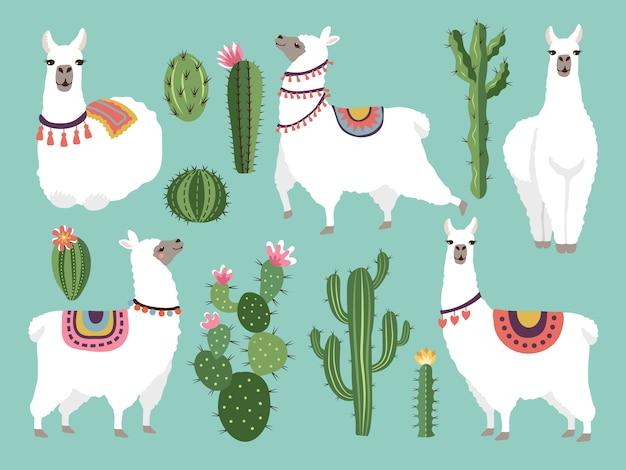 Illustrazioni del lama divertente. animale di vettore in stile piatto Vettore Premium