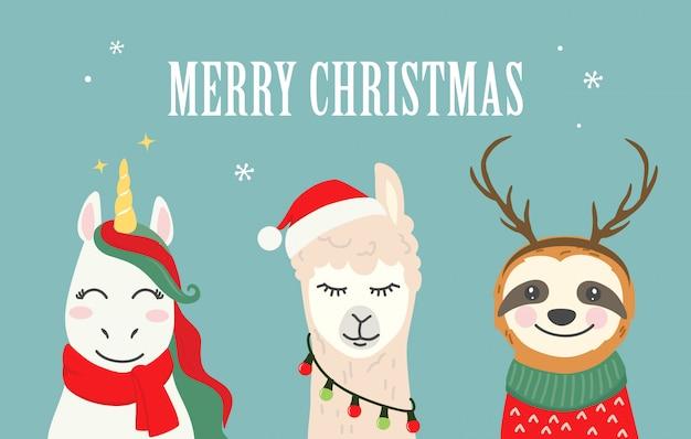 Illustrazioni del personaggio dei cartoni animati di natale di unicorno carino, alpaca lama, bradipo Vettore Premium