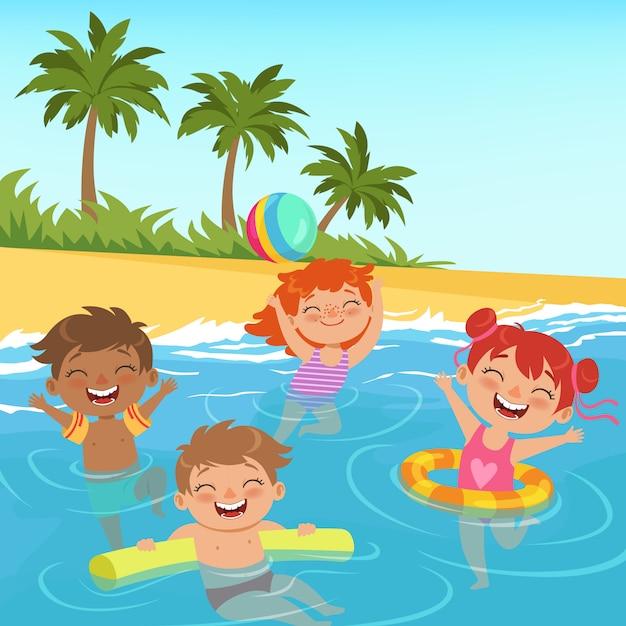 Illustrazioni di bambini felici in piscina Vettore Premium